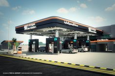 This Design was created for change the gas station concepts by changing the model and color , this new proposal under studying to work on and cladding many gas station.