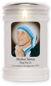 Mother Teresa Canonization Candle. Saint Teresa Of Calcutta, Pray For Us, Mother Teresa, Mother Gifts, Candle Holders, September, Candles, Porta Velas, Candy