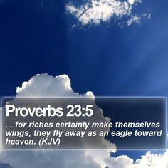 Proverbs 23:5 ... for riches certainly make themselves wings, they fly away as an eagle toward heaven. (KJV)  #Humble #Backgrounds #Lamb #Scripture #LifeQuotes #GodIsFaithful http://www.bible-sms.com/