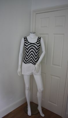 Black and white chevron vest top, crotchet vest top, sleeveless top, 90's grunge, festival top, monochrome top, club top, 90's revival, rave by GoingAroundAgain on Etsy