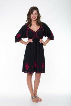 Ladli  Rani Dress Short – Black & Magenta