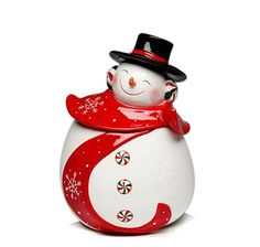 Snowman cookie jar (image only) Christmas Cookie Jars, Christmas Dishes, Holiday Cookies, Christmas Snowman, Christmas China, Whimsical Christmas, Christmas Time, Christmas Decor, Christmas Ideas