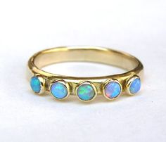Blue Opal ring,Fine jewelry, Stacking ring - Fine 14k Gold ring and Opal Gemstone MADE TO ORDER wedding band Handmade engagement