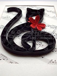 Quill art black cat