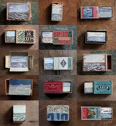 "David Cass; ""small seascapes painted on and inside vintage matchbooks; they are like little worlds you can tuck into your pocket. I encourage you to check out more of David's pieces from the ""Unearthed"" exhibition at the Scottish Gallery in Edinburgh"" (Anthology Magazine)"