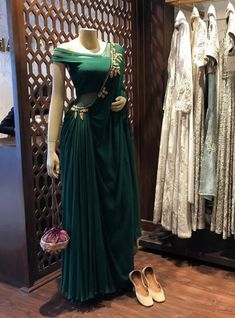 Beautiful Saree Style viscos Dress with Saree style drape. Modern silhouette with traditional embellishments. Embellished with hand embroidery work. Drape Gowns, Draped Dress, Dress Up, Indian Designer Outfits, Indian Outfits, Designer Dresses, India Fashion, Ethnic Fashion, Stylish Dresses