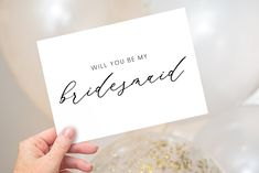 Editable Modern Bridesmaid Invitation, Fold-over Maid of Honor Invitation, Calligraphy, Handwriting, Minimalist, Simple, Corjl Template EL Minimalist Showers, Wedding Shower Decorations, Calligraphy Handwriting, Wedding Suite, Simple Wedding Invitations, Party Activities, Etsy App, Wedding Welcome, Custom Cards