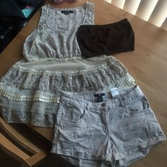Floral&lace shirt/shorts/bandeau! Forever 21 floral and lace tank size large. H&M cream shorts size 6 and OS brown bandeau all in one! Can sell separately! Make an offer Forever 21 Tops Tank Tops