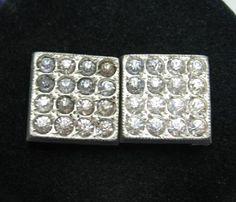 "RHINESTONE 2 Piece BELT BUCKLE Vintage SQUARE Silvertone Metal 5/8"" Width | eBay  $7.99"