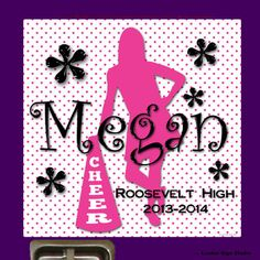 Brightleez Shop - Pink Cheerleader with Megaphone Locker Sign - Personalized Locker Decoration of Cheerleader against Pink Polka Dots and Curly Font for Name