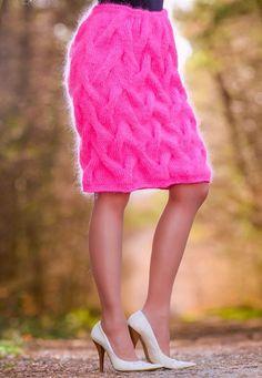 Neon Pink Hand Knitted Skirt Fuzzy Sexy Handmade Mohair Dress by SUPERTANYA #SuperTanya #MohairSkirt