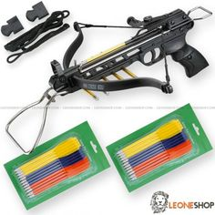 "Pistol Crossbow 80 Lbs MAN-KUNG, professional crossbows with anatomic gun handle to have a steady and safe grip, aluminum body with fiber bow, viewfinder, controller and polyester string with 3 aluminum darts - Lenght 12.5"" - Bow Lenght 17.5"" - Weight 1.54 lbs - Shooting power 80 Lbs - Speed 160 fps - Complete of 2 Blister (24 Pcs) Darts with Plastic body and metal tip and Spare String"