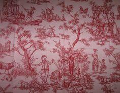 Coupon 60x60 toile de Jouy - Rouge sur fond rose