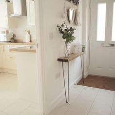 RUSTIC NARROW CONSOLE TABLE SHELF WITH HAIRPIN LEGS