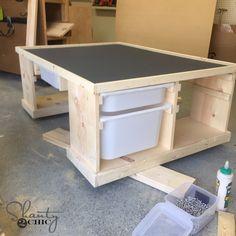 DIY Train or Lego Table - Shanty 2 Chic Train Table Finish shot