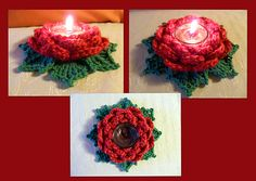Crochet rose candle holders.