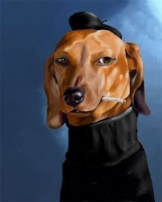 Dachshund cool cat art print by rubenacker on Etsy, $13.99.  (Yes, I think it's art.  Deal.  :)