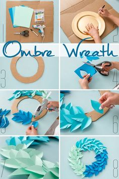 Use colorful cardstock paper, cardboard, and Elmer's new Craft… DIY Ombre Wreath. Use colorful cardstock paper, cardboard, and Elmer's new CraftBond Less Mess Hot Glue Sticks & Hot Glue Gun to make DIY home decor in minutes! Kids Crafts, New Crafts, Diy Home Crafts, Creative Crafts, Holiday Crafts, Kids Diy, Easy Crafts, Diy Ombre, Paper Flowers Diy