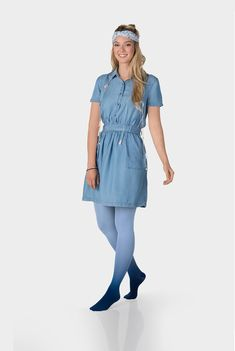 Juzo Inspiration Kompressionsstrumpfhose in Dip Dye Färbung Blaubeere Colored Tights Outfit, Compression Stockings, Nylon Stockings, Dip Dye, Gradient Color, Dips, Rompers, Shirt Dress, Outfits