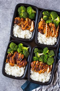 20 Minute Meal-prep Chicken, Rice, And Broccoli With Water, Jasmine Rice, Salt, Boneless Skinless Chicken Breasts, Granulated Sugar, Paprika, Cumin, Garlic Powder, Salt, Pepper, Olive Oil, Broccoli Florets, Water