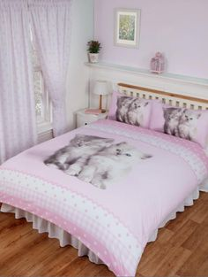 Rachael Hale Misty & Mac Pink Cute Cats Kittens Paws Polka Duvet Quilt Cover Set Cute Cats And Kittens, Quilt Cover Sets, Bedding Sets, Duvet Covers, Cadeau Communion, Pink, Amazon Fr, Furniture, Alice