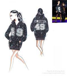 Figurín de moda del diseñador Jeremy Scott para el vestuario de Katy Perry en la Superbowl . El figurín inicial y el diseño final en acción #figurinesdemoda #figurines #fashion www.figurinesdemoda.com