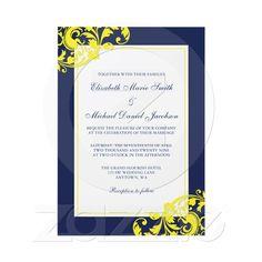 Navy Blue and Yellow Flourish Swirls Wedding Invites from Zazzle.com