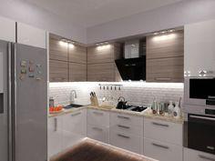 Интериорът на кухнята е модерен, работните площи са добре разпределени, осветлението е балансирано между концентрирана светлина и приглушена такава.