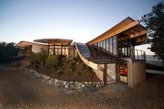 Coastal Rammed Earth - eclectic - exterior - san luis obispo - Semmes & Co. Builders, Inc Residential Architecture, Modern Architecture, Rammed Earth Homes, Concrete Houses, Earth Design, Earthship, Exterior Design, Coastal, Pergola