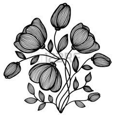 bella astratto in bianco e nero fiore delle linee. Singolo, isolato su bianco. Molte somiglianze con il profilo dell'autore