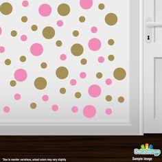 Pink / Metallic Gold Polka Dot Circles Wall Decals #stickers #decalvenue #decals