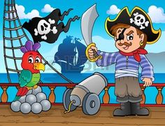 Pirate ship deck topic 3 - eps10 vector illustration
