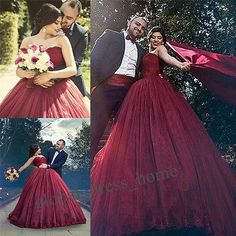 Burgundy Lace Ball Gown Prom Quinceanera Dresses Wedding Bridal Gowns Custom