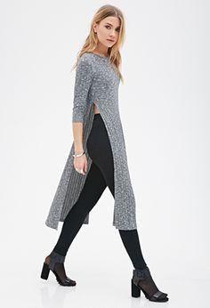 Heathered High-Slit Dress | FOREVER21
