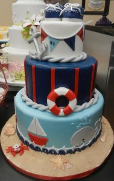 Nautical cake from Carlo's Bakery Crazy Cakes, Carlos Bakery Cakes, Nautical Cake, Nautical Theme, Nautical Style, Boat Cake, Sea Cakes, Pink Cakes, Cake Boss