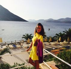 Jackie with her gorgeous Allegra dip dye scarf in Greece #ColourtheWorld