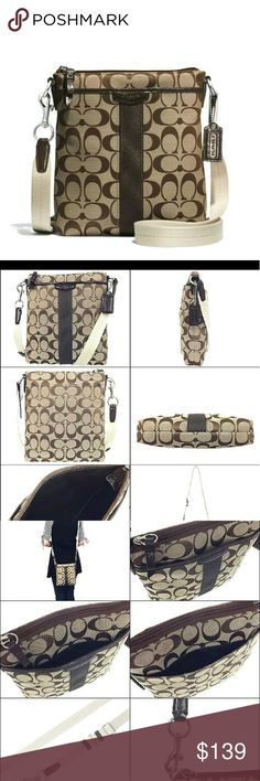 """COACH SIGNATURE BROWN STRIPE LUREX NS SWING CROSSB BRAND NEW SEALED WITH TAGS  COACH SIGNATURE BROWN Stripe Lurex NS CROSSBODY SWINGPACK Shoulder 51157   Beautiful KHAKI/MAHOGANY Signature """"C"""" Jacquard Fabric   Trim, beading, zipper pull tab, border and strap anchors are all made  of Black Patent Leather  2."""" Lurex Stripe down Front  Front full sized slip pocket, fully lined and trimmed with Patent Leather  BROWN Patent Leather  Inlay-ed with """"Coach est 1941""""  Tonal stitching throughout…"""