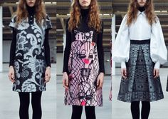 Giles – Pre A/W 2014/15-Baroque Jacquard Prints – Over-scaled Imagery – Pen and Ink Fashion Drawings – Fluorescent Touches – Tonal Gradings – Chain Link Prints
