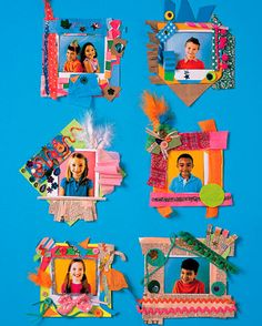 Kids' Art Projects Paper picture frames - These frames are a fun and easy craft for kids to make in groups at parties. Take photos of guests with an instant camera. Kids can mat them to precut card-stock squares and then embellish the borders. Add self-ad Picture Frames For Parties, Paper Picture Frames, Picture Frame Crafts, Paper Frames, Crafts For Kids To Make, Projects For Kids, Art For Kids, Art Projects, Calendar Ideas For Kids To Make