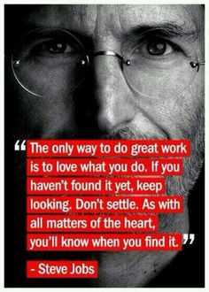 I don't consider Steve Jobs to be a positive role model, generally, but he had the right idea in terms of chasing your dreams. His methods are what leaves something to be desired.