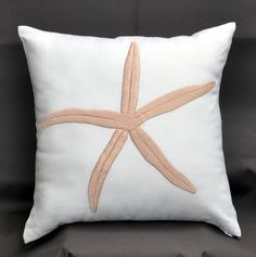 Starfish Pillow, White Beige Starfish Throw Pillow,Decorative Cushion Cover, Nautical Pillow, 18 x 18 Pillow Cover. $23.00, via Etsy.
