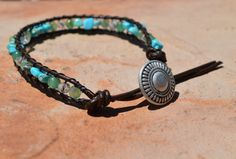 Turquoise and Aventurine Leather Healing Bracelet by CrystalMeB