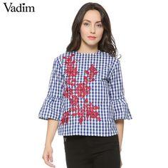 Vadim Floral Embroidery Plaid Shirts