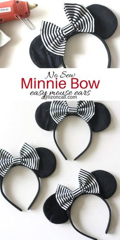 No Sew Minnie Bow - Liz on Call - - Just add this No Sew Minnie Bow to a basic pair of ears and you've got easy no sew Minnie Mouse ears for any occasion. Disney Diy, Diy Disney Ears, Disney Mickey Ears, Disney Bows, Disney Crafts, Mickey Ears Diy, Disney Magic, Mickey Mouse Crafts, Mickey Mouse Ears Headband
