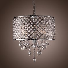 Modern 4 - Light Pendant Lights with Crystal Drops in Round - USD $ 179.99
