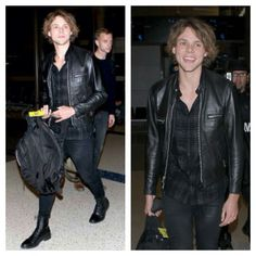 Ashton Irwin of 5 Seconds of Summer after the AMAs :: Leather Jacket