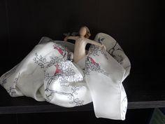 Birch Tree silk scarf, black and white, red cardinal, hand-designed art