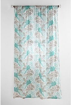 Tie Up Valance Curtains Turquoise and Beige Curtains