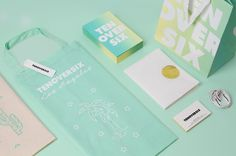 We refreshed all the elements of the existing brand collateral with a new citrus color palette. TenOverSix is a Los Angeles–based boutique offering a selection of high-concept designer fashion accessories and lifestyle goods. When the boutique evolved to encompass a second location in Dallas, TX, we refreshed all the elements of the existing brand collateral—from shopping bags and notecards to garment bags and tissue paper—with a new citrus color palette. For the notecards, we spray painted…