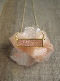 Peach Druzy Necklace Titanium Druzy Quartz by julianneblumlo